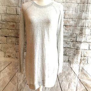 Athleta Sweater Long pullover Light Gray Sz Med